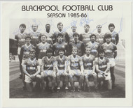 Superb hand signed Blackpool FC Official Team Photograph season 1985-86, signed by 19 of the squad to the photograph