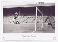 Manchester City goalkeeper Bert Trautmann launches himself across the goal to save a Newcastle United effort during the 1955 FA Cup Final.
