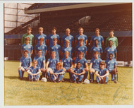 Hand signed Chelsea FC Official Team Photograph season 1985-86, signed by 13+ of the squad to the photograph