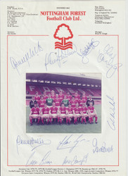Nice hand signed Nottingham Forest Official Team Photograph season 1985-86, signed by 10 of the squad