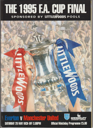 Official 1995 FA Cup Final programme for the game, Everton V Manchester United played on 20 May 1995.