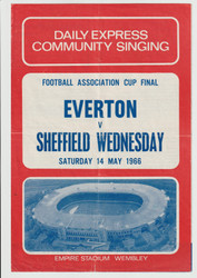 original 1966 FA Cup Final song sheet for the game, Sheffield Wednesday V Everton played on 14 May 1966 at Wembley