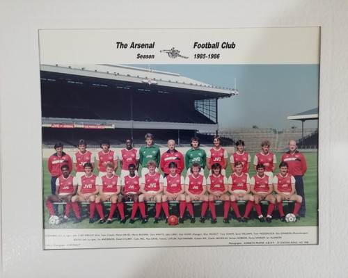 Superb hand signed Arsenal FC Official Team Photograph season 1985-86, mounted and signed 14 of the squad