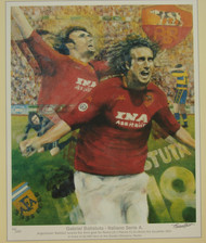 limited edition print by renowned artist Brian West showing Gabriel Batistuta scoring the third goal for Roma in 2001