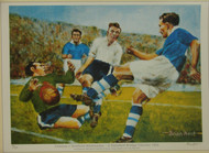 limited edition print by renowned artist Brian West showing Roy Bentley in action Chelsea V Sheffield Wednesday in a title clincher 1955