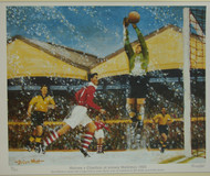 limited edition print by renowned artist Brian West showing Bert Williams dealing with a high ball as John Hewie runs in, watched by Bill Slater and Eddie Stuart