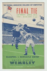 original Official 1951 FA Cup Final programme for the game, Blackpool V Newcastle United played on 28 April 1951 at Wembley Stadium