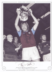 West Ham United captain Billy Bonds proudly holds aloft the FA Cup, after his sides 2-0 victory over Fulham in the 1975 FA Cup Final