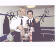 Superb hand signed photograph showing Giggs & Schmeichel celebrating with the AXA FA Cup 1999, the second leg of their historic treble