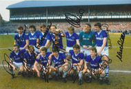 Everton team celebrate securing the League Title in May 1985. Superb signed photograph