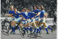 Everton players celebrate Pat Van Den Hauwe's 1st minute winning goal at Norwich City 4 May 1987. The victory secured Everton the league title
