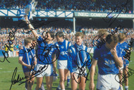 Everton players celebrate with the League Championship trophy May 1987