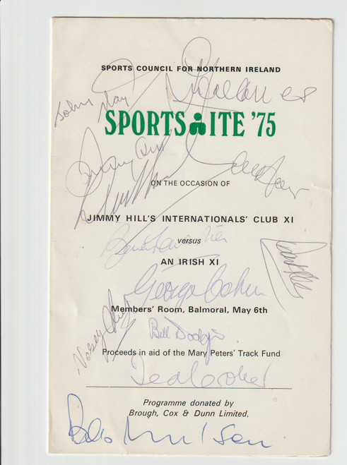 Superb hand signed menu/programme for Jimmy Hill's International Club X1 V An Irish X1 May 6th 1975, the menu has been signed by 12 to the front cover