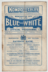 Official League Division One programme for the game, Manchester City V Liverpool played on 27 February 1926.