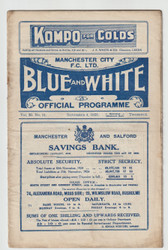 original Official League Division One programme for the game, Manchester City V Sheffield United played on 4 November 1925
