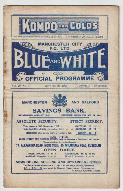Official League Division One programme for the game, Manchester City V Burnley played on 24 October 1925