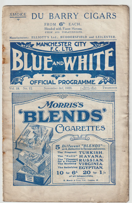 original Official League Division One programme for the game, Manchester City V Newcastle United played on 3 November 1923