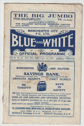 original Official League Division One programme for the game, Manchester City V Birmingham City played on 29 December 1928