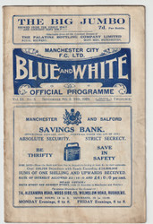 original Official League Division One programme for the game, Manchester City V Huddersfield Town played on 8 September 1928