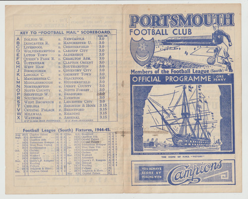 original Official Football League South programme for the game, Portsmouth V Fulham played on 21 April 1945