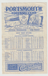 original Official Football League South programme for the game, Portsmouth V Birmingham City played on 30 March 1946