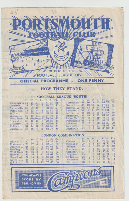 original Official Football League South programme for the game, Portsmouth V Charlton Athletic played on 13 April 1946