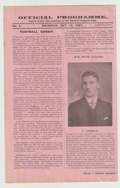 original officialprogramme for the Grand Football Match, Chester V Birkenhead played on 12 October 1907
