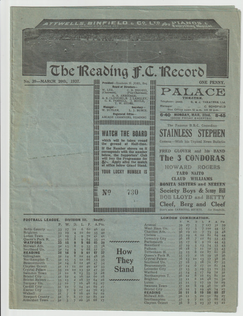 original Official programme for the inter services game, Army V Royal Air Force played on 30 March 1937 at Reading FC