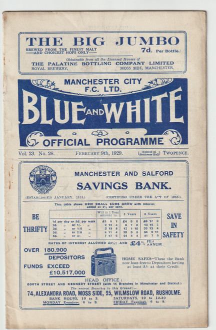 original Official League Division One programme for the game, Manchester City V Blackburn Rovers played on 9 February 1929