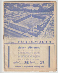 original Official League Division One programme for the game, Everton V Portsmouth played on 17 September 1938. Everton were crowned League Champions season 1938/39.