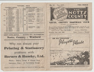 original Official League Division Three programme for the game, Notts County V Walsall played on 24 December 1945