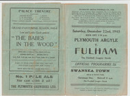 original Official Football League South programme for the game, Plymouth Argyle V Fulham played on 22 December 1945.