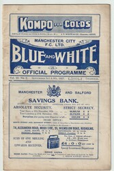original Official League Division Two programme for the game, Manchester City V Port Vale played on 3 September 1927