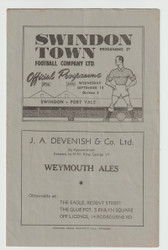 original Official League Division Three South programme for the game, Swindon Town V Port Vale played on 15 September 1948