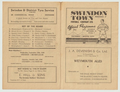 original Official League Division Three South programme for the game, Swindon Town V Bristol City played on 25 September 1948