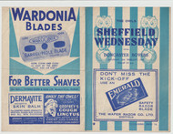 original Official Football League North programme for the game, Sheffield Wednesday V Doncaster Rovers played on 14 February 1945