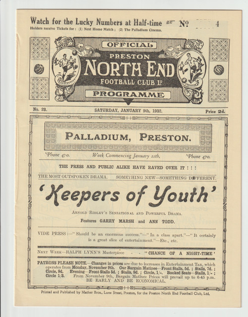 original Official FA Cup 3rd programme for the game, Preston North End V Bolton Wanderers played 9 January 1932
