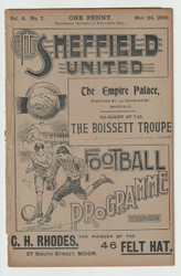 original Official League Division One programme for the game, Sheffield United V Aston Villa played on 24 November 1900