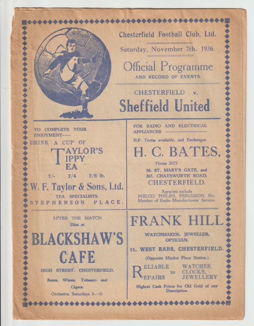 original Official League Division Two programme for the game, Chesterfield V Sheffield United played on 7 November 1936.Very rare programme celebrating the opening of the new stand at Saltergate.