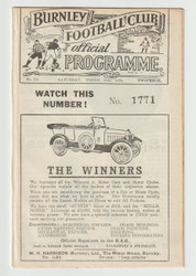 original Official League Division One programme for the game, Burnley V Sunderland played on 15 March 1924.