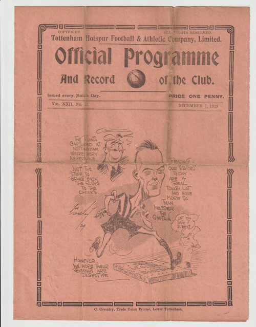 original Official League Division Two programme for the game, Tottenham Hotspur V Reading played on 7 December 1929