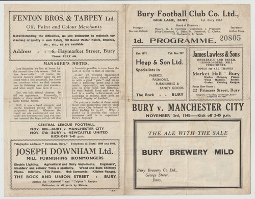 original Official Football League North programme for the game, Bury V Manchester City played November 1945.
