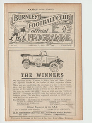 original Official League Division One programme for the game, Burnley V Birmingham City played on 9 February 1924