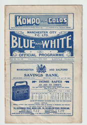 original Official League Division Two programme for the game, Manchester City V West Bromwich Albion played on 10 December 1927