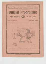 original Official London Combination League programme for the game, Tottenham Hotspur Reserves V Crystal Palace Reserves played on 27 November 1920