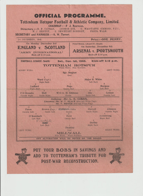 original Official Football League South programme for the game, Tottenham Hotspur V Millwall played 1 December 1945