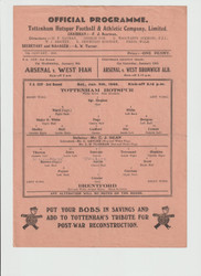 original Official Football League South programme for the game, Tottenham Hotspur V Brentford played 5 January 1946