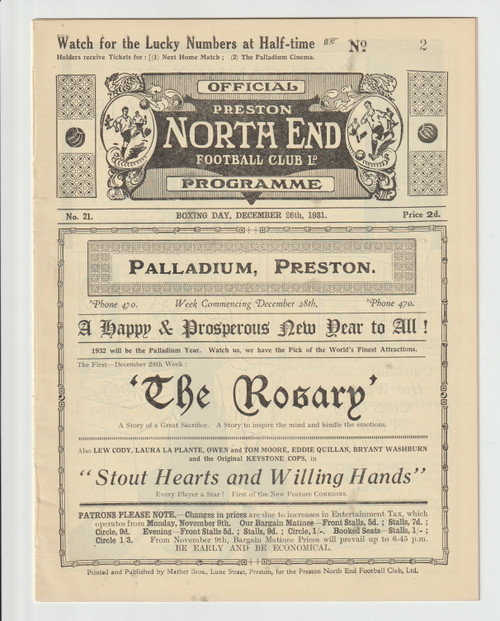 original Official League Division Two programme for the game, Preston North End V Burnley played 26 December 1931
