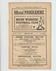 original Official League Division One programme for the game, Bolton Wanderers V Birmingham City played on 6 March 1937