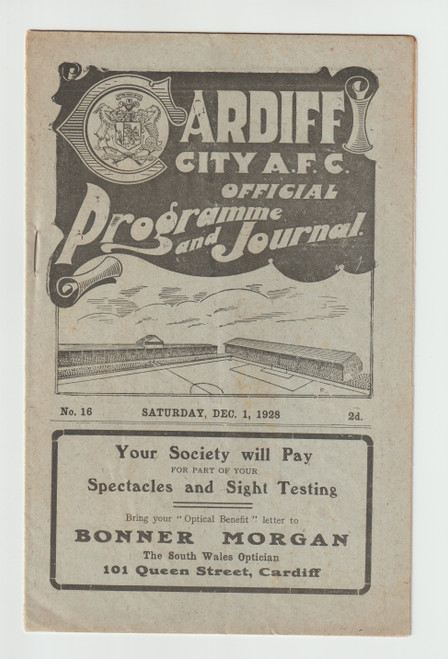 original Official League Division One programme for the game, Cardiff City V Birmingham City played 1 December 1928